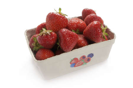 rosoideae: ffresh strawberries fresh from the market. Packed in a cardboard carton. Studio recording Stock Photo