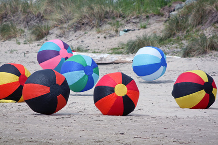 inflated: Colorful Inflated Beach Balls at a Kite Festival