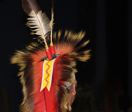 american native: Native American Feathered Headdress at Powwow