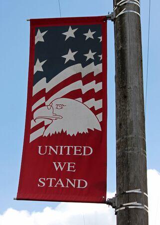 main street: Main Street Banner United We Stand Archivio Fotografico