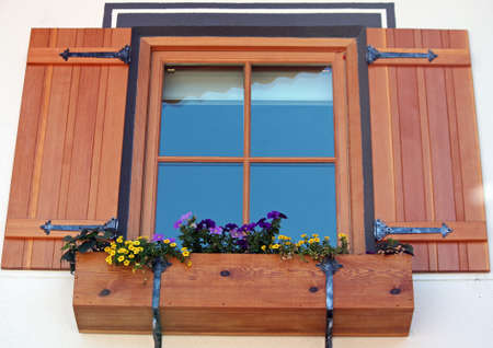 Window with Shutters and Flower Box