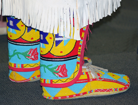 Colorful Native American Beaded Moccasins