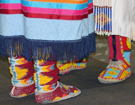 moccasins: Closeup of Beaded Moccasins at Native American Powwow