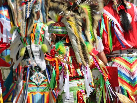 regalia: Colorful Native American Regalia at a Summer Powwow Stock Photo