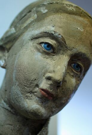 Closeup of a Stone Statue of a Womans Face