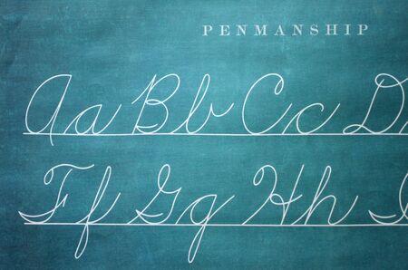 penmanship: Closeup of Old-Fashioned Penmanship Guide
