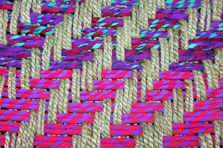 entwined: Closeup of a Colorful Woven Basket Stock Photo