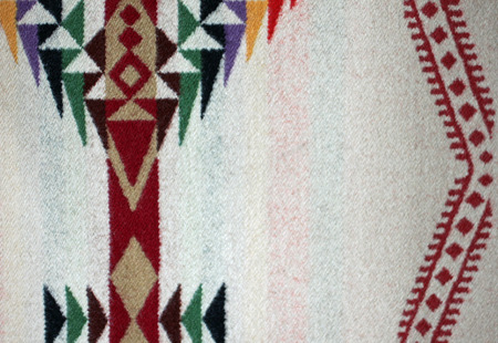 deign: Multicolor Native American Woven Woolen Blanket with space for copy Stock Photo