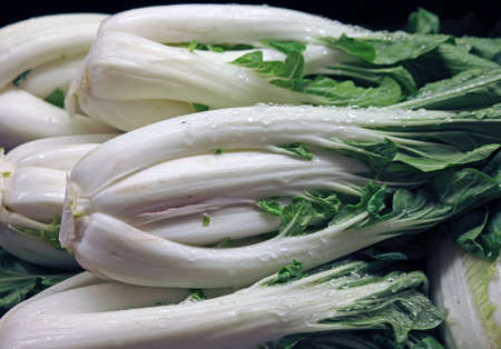 grocer: Closeup of Bok Choy at the Farmers Market Stock Photo