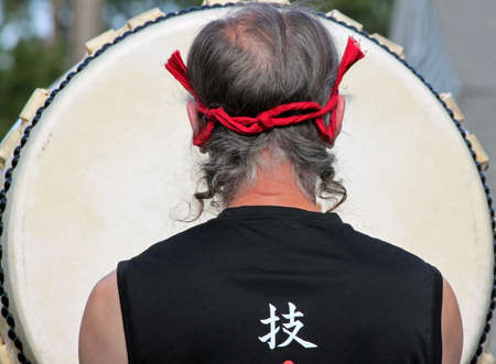 Closeup of a Taiko Drummer