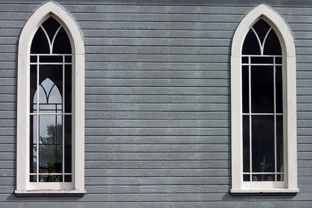 country church: Closeup of Two Windows on a  Country Church
