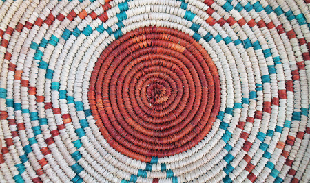 Closeup of the Pattern on a Colorful Woven Basket