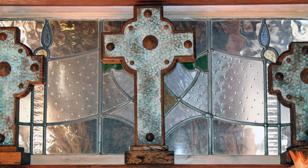 house of worship: Three Crosses in a Stained Glass Window