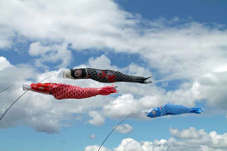 Red, Black, and Blue Fish Kites Flying Against a Cloudy Sky