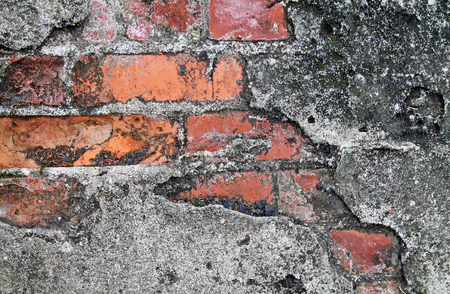Closeup of a Grunge Red Brick Wall Imagens