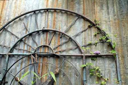 Garden Art - Metal Arch Against Weathered Corrugated  Metal Wall Reklamní fotografie