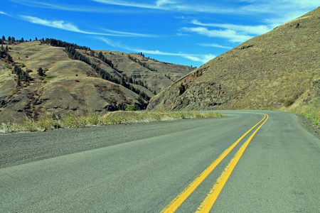 Curving Mountain Road in eastern Oregon, USA