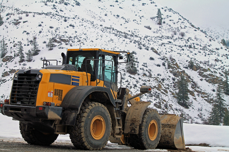 snow plow: Snow Plow Waiting for the Next Storm, Cascade Mountains