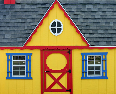 playhouse: Colorful Wooden Playhouse Stock Photo