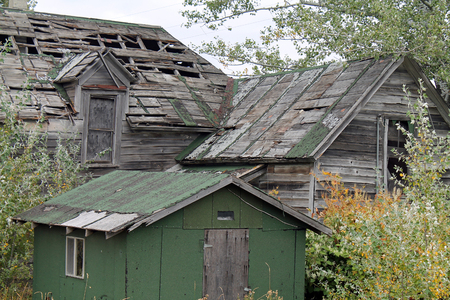 Dilapidated Wooden Buildings of an Old Oregon Homestead Stock Photo