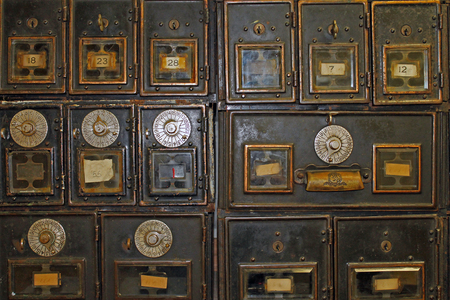 Antique Mailboxes in an Old Post Office