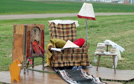 Homeless Camp with Recliner and Lamp