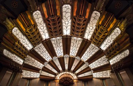 Closeup of an Art Deco Light at the Theater Stock fotó - 91720212