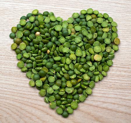 Raw Green Split Peas in the Shape of a Heart