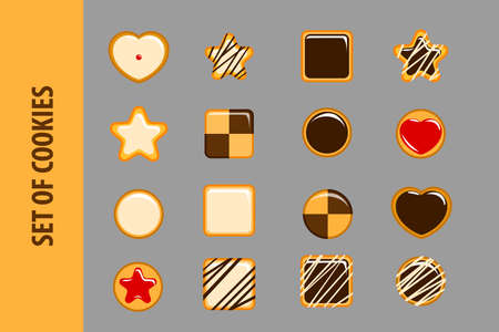16: Set of cookies in flat style. 16  objects on a gray background. Icons for Web and Mobile Application. Tasty cookies for execution of business cards of cooks.  illustration.