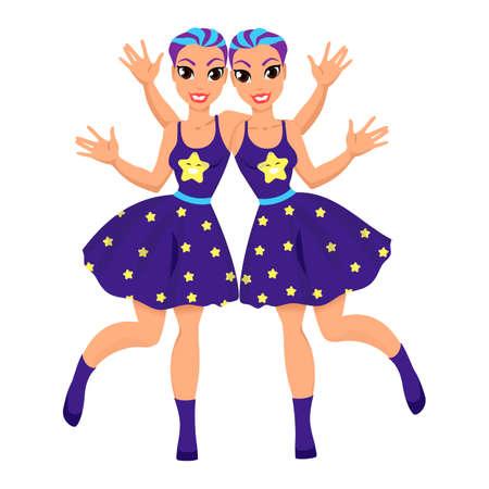 Gemini astrological sign. Horoscope. Gemini zodiac symbol as beautiful girls. Illustration with the image of women. Cartoon character Illustration