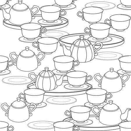 Seamless pattern with a tea set. Cups, saucers, saucers, sugar bowl. Vector illustration.