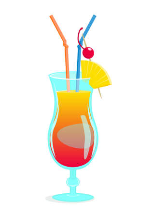 Summer tropical beach cocktail. Vector cartoon illustration of cocktail Mai tai.