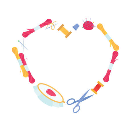 Elegant heart-shaped frame. Items for needlework and embroidery. Vector illustration for blog or magazine article. Vector Illustration