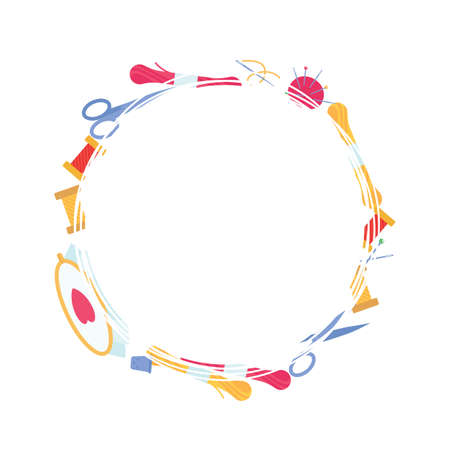 Vector round frame from needlework and embroidery items