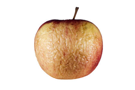 Wizened skin old apple white background  photo