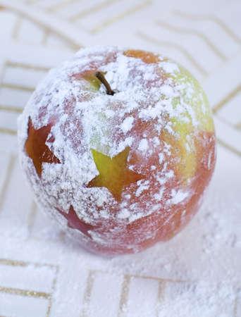 christmas apple: Natale mela decorazione con zucchero a velo