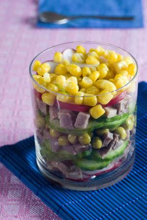 Maize salad a beef tongue photo