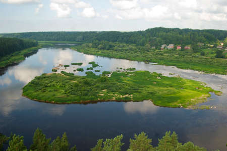 bird eye view: island in the river Daugava Stock Photo