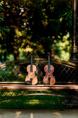 violinista: Violín instrumento de música de la orquesta. Violines en el parque en el banco