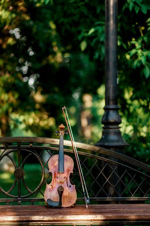 Viool muziekinstrument van orkest. Violen in het park op de bank Stockfoto