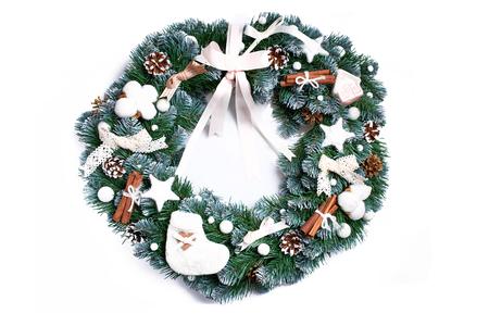 Christmas wreath isolated on white background. Festive decoration