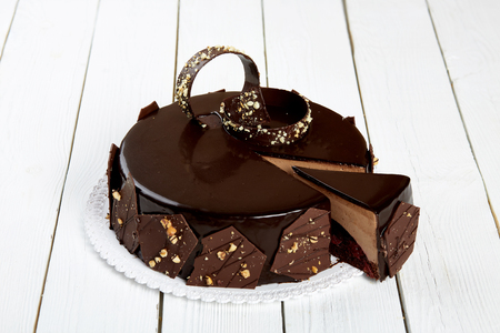 Chocolate Cake on a white wooden table