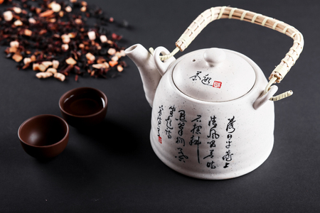 ware: Tea ceremony. Porcelain teapot with Chinese inscriptions