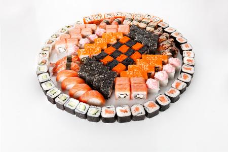 Sushi set on white background. Food Concept Stock Photo