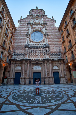 Montserrat Monastery located on the mountain Montserrat near Barcelona, Catalonia, Spain