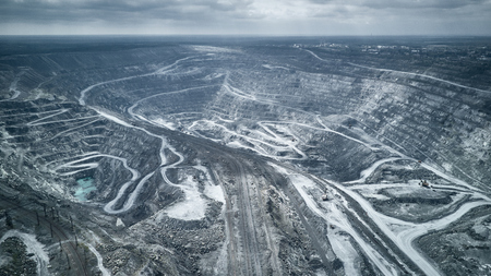 Aerial view of asbestos opencast mining quarry - view from above. Panorama of the quarry mining