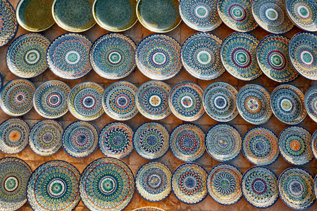 Plates and cups on a street market in the city of Bukhara, Uzbekistan.