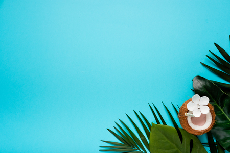 Refreshing summer drinks. Coconut drink on blue background. Trendy summer color Stock Photo