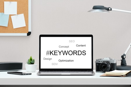 Keyword seo content website tags search. SEO positioning service in the screen.