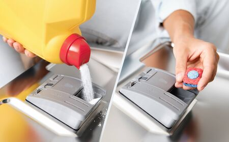 Woman Pour Powder or Put Tablet Dishwasher box. Tested Detergents. Type of dishwasher detergent.